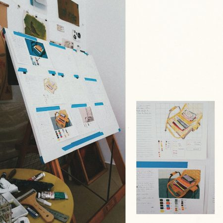 Left: Studies of the same object using different techniques on paper. 2021. Right: In the upper part of the image, the drawing was done in colored pencils. At the bottom of the image, the painting was done with liquid watercolor. 2021.