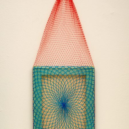"""Untitled, 2021. Nets (plastic bag) stretched on wooden chassis. 8"""" x 20"""""""