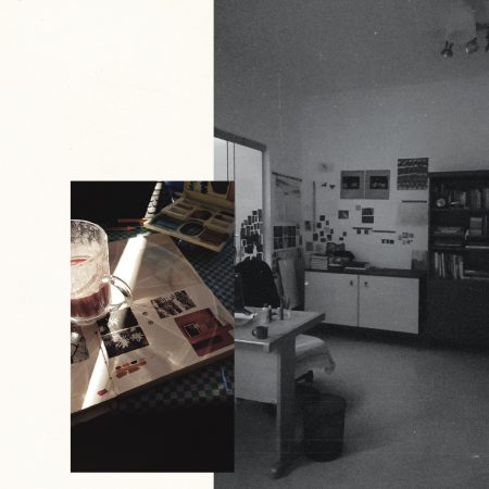 Left: photo of studies in the sketchbook. 2021. Right: image of the artist's studio. 2021.