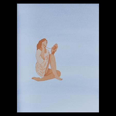 Autorretratos de memórias imaginadas, BORDADEIRA, 2021. Aquarela sobre papel algodão. 24 x 36 cm