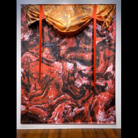 "LORD YAMA 2019, digital print on satin fabric, 119"" x 98.5"" Edition of 5 & 2 AP"