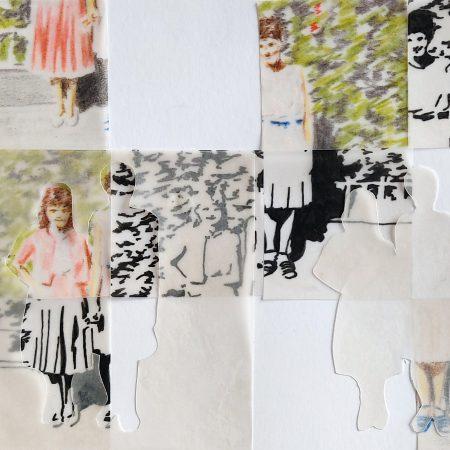 Melhores amigas Lápis de cor, nanquim e colagem em papel vegetal sobre papel. 14,5 x 18,5 cm 2021