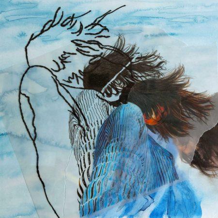 Mulher que voa Aquarela, nanquim, lápis de cor, bordado e colagem de papel vegetal sobre papel 29,7 x 42 cm 2020