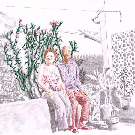 Nosso jardim Lápis de cor e bordado sobre papel 19  x 26,5cm 2021