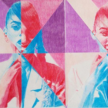 Quantas faces tem uma mulher? Lápis de cor e papel vegetal em colagem sobre papel. 21,5 x 33,6cm 2021