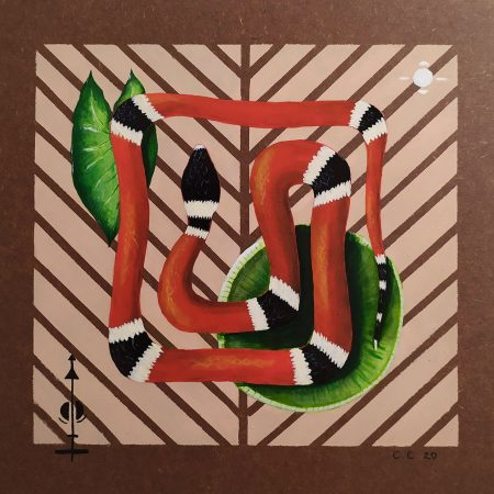 Cobra-de-fogo (Fire Snake), 2020 Forest Spirits Series Acrylic on wood board 11 x 11 x 1/2 in